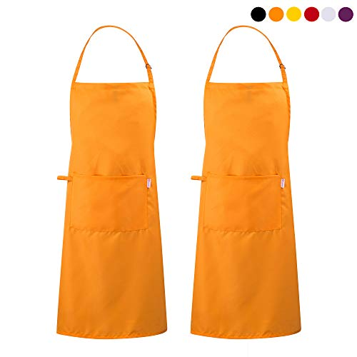 Zihuatailor 2 Pack Unique Design Durable String Adjustable Extra Long Ties Kitchen Aprons with Pocket - - Apron Orange Bbq