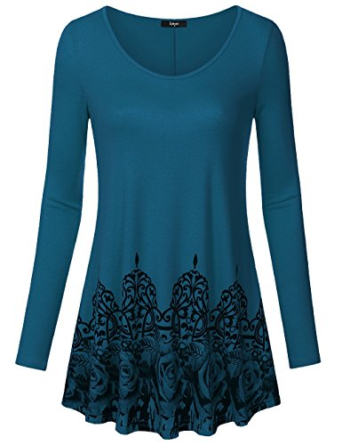 Laksmi Loose Casual Tunics, Womens Tunic Tops For Leggings Basic Floral Print Flow Top, Long Sleeve Round Neck A Line Stretchy Fabric (Large, Dark Cyan)