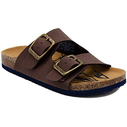 Nautica Kids Grant Youth Open Toe Sandal 2 Buckle Straps Comfort Slide Outdoor Sport Casual Sandals-Chocolate-4 ()