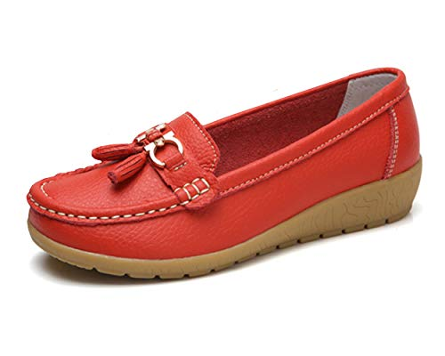 Women Loafers Leather Oxford Slip On Walking Flats Anti-Skid Boat Shoes (5 M US, V-Red)