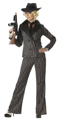 California Costumes Women's Gangster Lady Costume, Black/White, Large