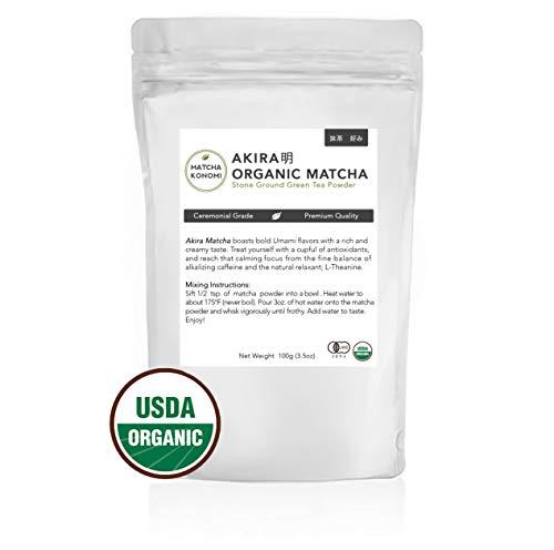 Akira Matcha 100g - Organic Premium Ceremonial Japanese Matcha Green Tea Powder - First Harvest, Radiation Free, No Additives, Zero Sugar - USDA and JAS Certified(3.5oz bag) (Tea Green Room)