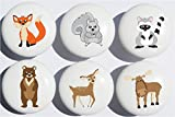 Woodland Forest Animal Drawer Knob Pulls, Ceramic Dresser Cabinet Knobs, Children's Nursery Decor with a Fox, Bear, Squirrel, Deer, Moose and a Raccoon.