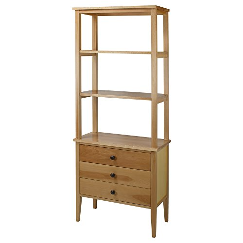 Finish Natural Bookcase - American Trails Edison Bookcase with Drawers with Solid American Maple
