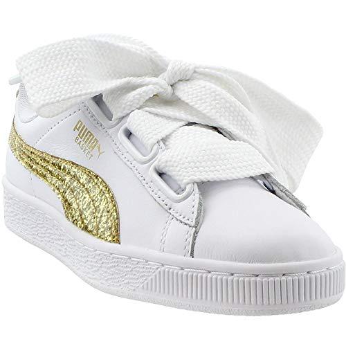 - PUMA Women's Basket Heart Glitter Wn Sneaker White-Gold, 7.5 M US