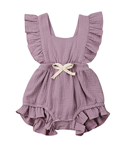 (Toddler Baby Girl Ruffled Rompers Sleeveless Cotton Romper Bodysuit Jumpsuit Clothes (12-18 Months,)