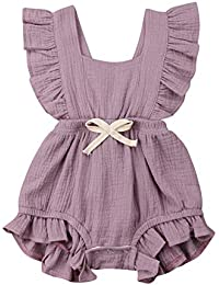 50e36c7291ce Toddler Baby Girl Ruffled Rompers Sleeveless Cotton Romper Bodysuit Jumpsuit  Clothes