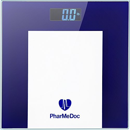 PharMeDoc Digital Bathroom Weight Scale - Tempered Glass Digital LCD Display Weight (High Beam Classic Body)
