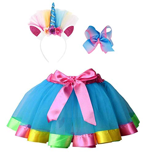 Simplicity Tutus for Girls Layered Tulle Dress up Rainbow Tutu Skirt with Unicorn Headband Hair Bow ()