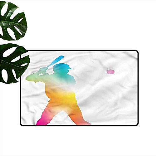 Washable Doormat Baseball Baseball Player Breathability W35 xL47