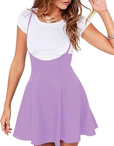 Women's Suspender Skirt Casual High Waist Short Dress Shoulder Straps Flared Skater Skirt (XL, Purple) -
