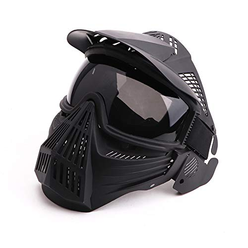 Anyoupin Paintball Mask, Airsoft Mask Full Face with Goggles Impact Resistant for Airsoft BB Hunting CS Game Paintball and Other Outdoor Activities Black Gray Lens