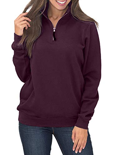 Women's Long Sleeve 1/4 Quarter Zip Stand Collar Fleece Pullover Sweatshirts Tops Blouse Oversized Pocket Outwear Solid Burgandy XL 16 18