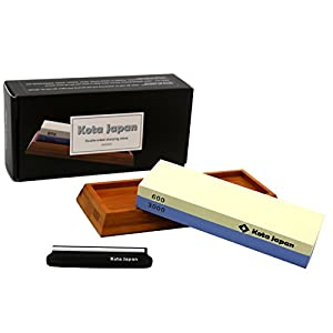 Kota Japan Premium Sharpening Stone 600-3000 Whetstone Knife Sharpener. EASY USE eBook & Blade Guide. No-Slip Bamboo Wood Base. GUARANTEED to Give You Razor Sharpness.