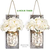 Premium Mason Jar Wall Decor Sconces - Rustic Grey Decorative Wall Decor with LED String Lights, 6 Hours Auto Timer, Wrought Iron Hooks, Silk Hydrangea Flower for Home Decoration (Set of 2)