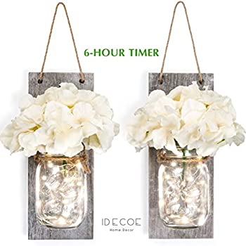 iDECOE Premium Mason Jar Wall Decor Sconces - Rustic Grey Decorative Wall Decor with LED String Lights, 6 Hours Auto Timer, Wrought Iron Hooks, Silk Hydrangea Flower for Home Decoration (Set of 2)
