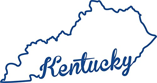 ND320B State Of Kentucky Script Decal Sticker | 7-Inches By 3.7-Inches | Premium Quality Blue Vinyl (Kentucky Silhouette)