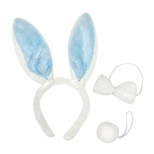 Toptie Wholesale Set of 3 Bunny Ears Headband, Soft Touch Plush Party Accessory-Blue-1SET