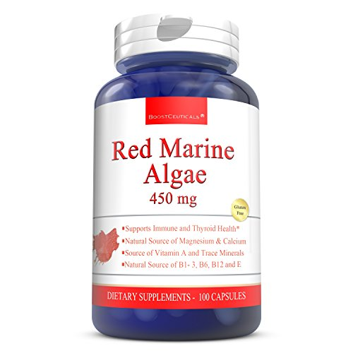 (Red Marine Algae 450mg 100 Capsules - Pure Red Marina Algae Supplements - 900mg Red Algae Daily Dose by BoostCeuticals)