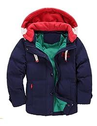 Hotmiss Children Boys Winter Duck Down Thick Hooded Parka Outwear Puffer Jacket