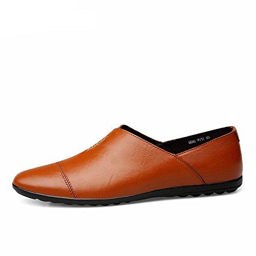 Zapatos Brown Plano para Ligero 39 Red tacón Hombre Piel con 5 sintética Estilo de Minimalista para Brown Red Hombre Shufang 2018 1OqwxYR1r