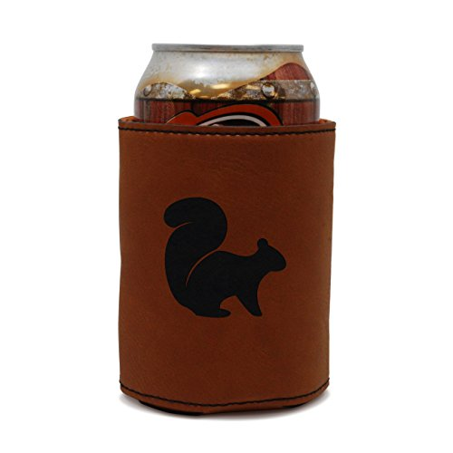 MODERN GOODS SHOP Leather Can Cooler With Flying Squirrel Engraving - Oil, Stain, and Water Resistant Beer Hugger - Standard Size Beer and Soda Can Sleeve (Koozie Beer Squirrel)