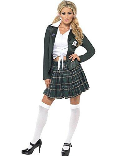 Smiffys Women's Green/White Preppy Schoolgirl Costume -US Dress 10-12 (Preppy Halloween Costumes)