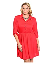 2LUV Plus Women's Collared Henley Button Down Knit Tunic Dress