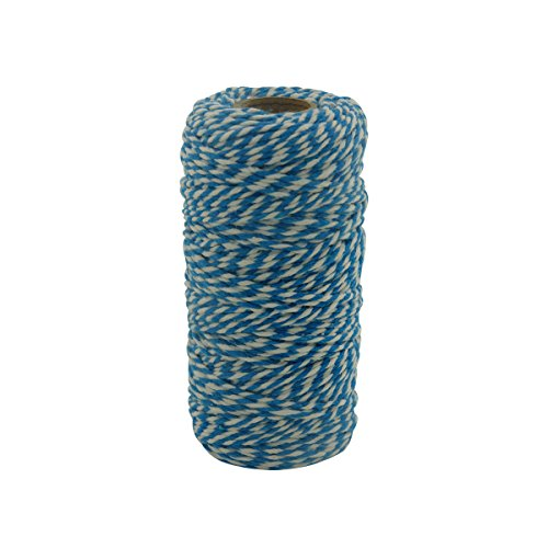 Charmkey Holiday Bakers Twine Spool Natural Cotton Mini Yarn 100yd 12 Ply Divine Strong String for Christmas Decoration DIY Crafts Gift Wrapping 2mm, 1 Cone, 2.89 Ounce (Striped Sky -