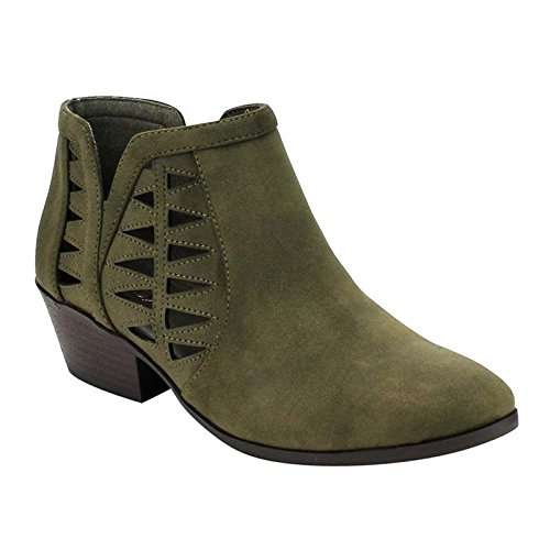Green Distressed Leather Footwear - SODA Women's Perforated Cut Out Stacked Block Heel Ankle Booties Khaki Green (11)