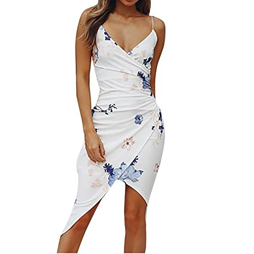 (Women's Wrap V Neck Spaghetti Strap Floral Split Beach Casual Dress Sexy Sleeveless Buttocks Camisole Dress Chaofanjiancai White)