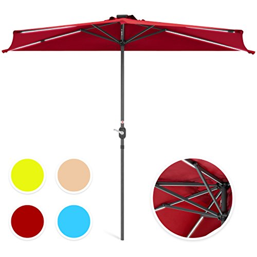 Best Choice Products 8.5ft Solar LED Strip Lighted Half Patio Umbrella - Burgundy