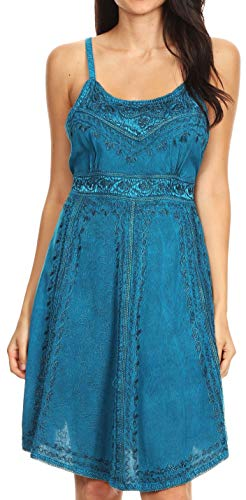- Sakkas 161117 - Markay Short Mid Length Spaghetti Strap Sleeveless Embroidered Batik Dress - Turquoise - S/M