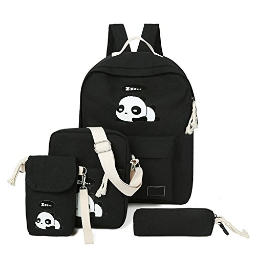 4Pcs Cute Panda Backpack Lightweight Casual Canvas School Backpacks for Teen Girls -
