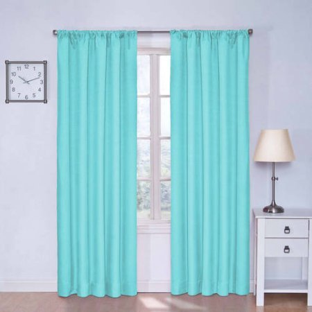 Eclipse Kids Kendall Blackout Window Curtain Panel with Easy Care, Machine Washable (42 x 63, Pool) (Eclipse Kids 63)