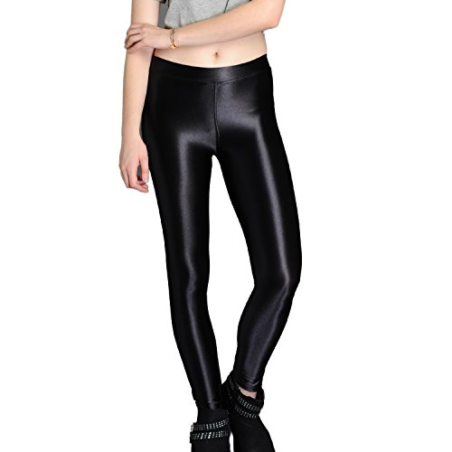 xQuare New American Style Apparel Shiny High Waisted Stretchy Disco Pants Leggings (Medium, Black)]()