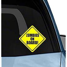 Zombies on Board funny car window or laptop vinyl decal bumper sticker Die-cut decal