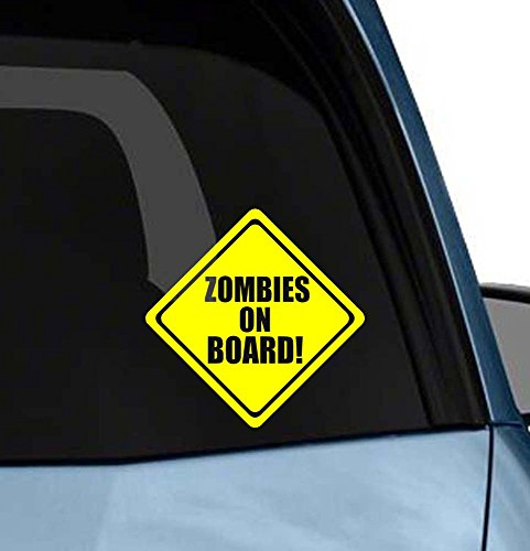 Zombies on Board funny car window or laptop vinyl decal bumper sticker Die-cut (Diy Car Costume)