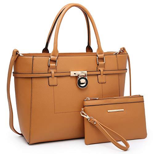 (Large Top Handle Satchel Women Handbag Ladies Designer Purse Set Faux Leather)