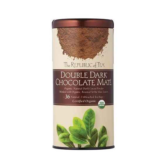 The Republic of Tea, Double Dark Chocolate Mate, 36 Count 3 It's a match made in heaven: antioxidant-rich, organic, roasted Yerba Maté blended with organic dark cocoa powder in a guilt-free, full-bodied dessert tea Dark Chocolate also brims with antioxidants, plus polyphenols - compounds known to lower blood pressure All with less than 5 calories per cup