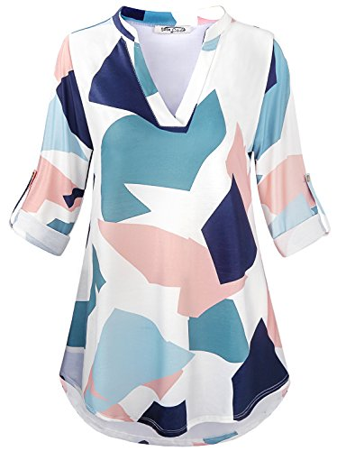 SeSe Code 3/4 Sleeve Womens Tops Ladies Tunic Top A-Line Stretchy Fabric Pleats Semi Formal Swing Curved Hem Mixed Print Dressy Blouse Geometric Patterns XLarge White