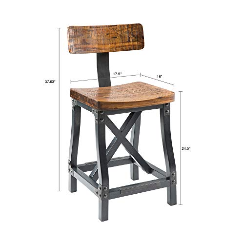 Ink+Ivy Lancaster Counter Stools - Solid Wood, Metal Kitchen Stool - Amber Wood, Industrial Style Counter Height Stools - 1 Piece Iron Frame Wooden Seat Counter Furniture For Home by Ink+Ivy (Image #4)