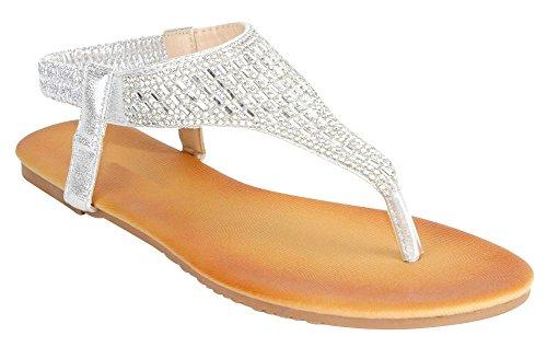 Cambridge Select Femmes T-strap Cristal Strass Thong Slip-on Sandale Plate Argent