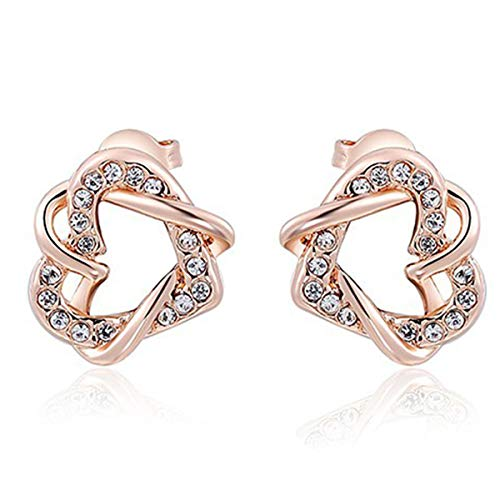 Love Heart Stud Earrings for Girlfriend Double Heart Earrings Open Heart Earrings Memory of Love Earrings Womens Rose Gold Interlocking Heart Ear Studs Her Wife Valentine's Day ()
