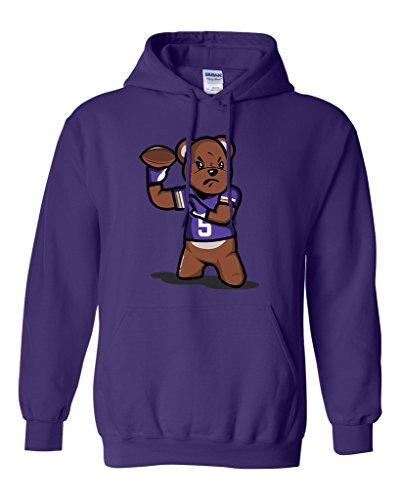 Teddy Bear Quarterback Sports Football Funny DT Sweatshirt Hoodie (Medium, Purple)