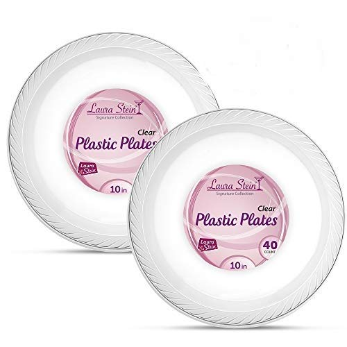 Laura Stein Elegant Clear 10 Inch Disposable Clear Plastic Plates 2 Packs (80 Plates)