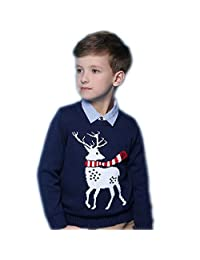 Happy childhood Kids' Boys' Girls' Long Sleeve Knitted Christmas Pullover Sweater Red Navy Reindeer Long Cardigan Top