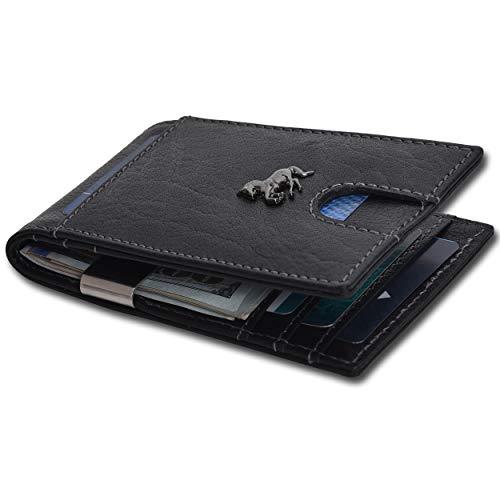 Men's Money Clip Wallet - RFID Blocking Black Minimalist Front Pocket Wallet