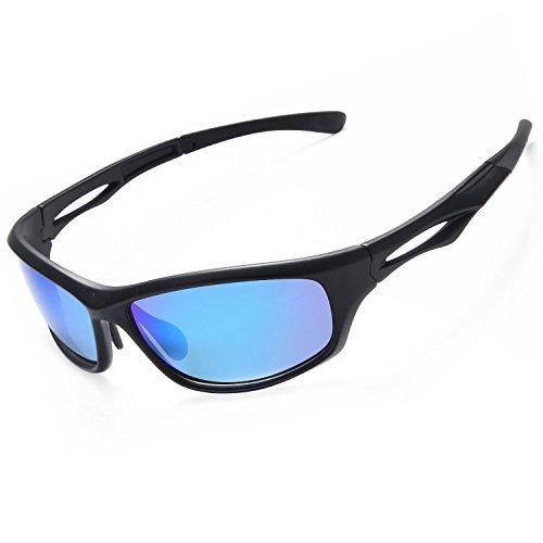 Siren Mens Polarized Unbreakable Sunglasses - Mirror Blue Lens on Matte Black Frame