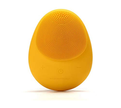 Hello Glow! MY DERMATICIAN Vibrating Sonic Care Facial Cleansing Brush and Face Massager, All Skin Types - 5 Speed, Wireless, Waterproof, Portable (Yellow) by My Dermatician